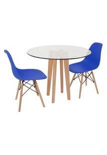 Conjunto Mesa De Jantar Em Vidro 90Cm Com Base Vértice + 2 Cadeiras Eiffel - Azul