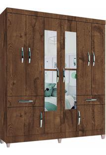 Guarda-Roupa Casal Houston Malbec 8 Portas 2 Gavetas Externas E Espelho - Incorplac