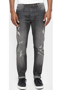 Calça Jeans Cavalera Stone Black Bolso Bordado - Masculino