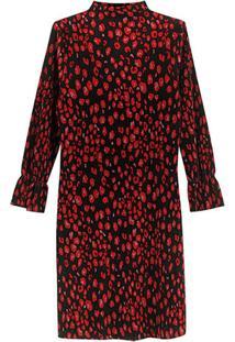 Vestido Vermelho Animal Curto Plissado