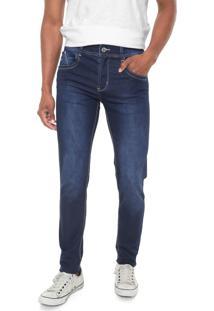 Calça Jeans Sawary Slim Pespontos Azul