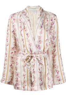 Forte Forte Blazer Floral Com Ajuste Na Cintura - Rosa