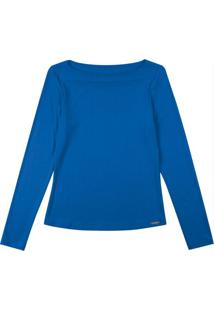 Blusa Manga Longa Com Decote Redondo Azul
