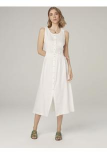 Vestido Midi Acetinado - Off White