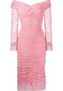 Dolce & Gabbana Vestido Midi Com Stretch E Tule - Rosa