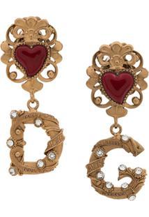 Dolce & Gabbana Brincos De Coração Com Logo - Dourado
