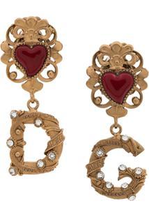 Dolce & Gabbana Logo Heart Earrings - Dourado