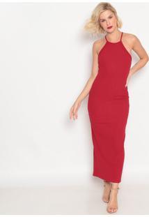 Vestido Longo Canelado- Vermelho- Forumforum