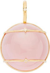 Pingente Art Ouro Sofisticada Em Ouro 18K Com Quartzo Rosa Amarelo