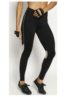 Body For Sure Legging Com Elã¡Stico & Recortes Preta & Bege