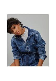 Amaro Feminino Jaqueta Jeans Com Aplicação, Azul Médio