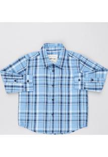 Camisa Infantil Estampada Xadrez Com Bolso Manga Longa Azul Claro