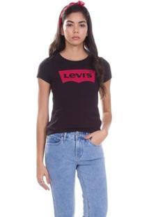 Camiseta Levis Logo Batwing Classic Feminino - Feminino-Preto