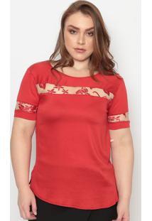 Blusa Com Tule & Bordados- Vermelha- Maclumaclu