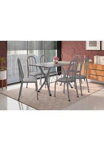 Conjunto De Mesa Para Sala De Jantar Artefamol Bruna Com 6 Cadeiras.