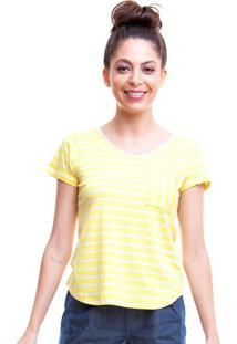 Blusa Listrada Com Bolso Amarelo