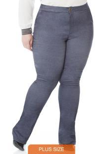 Calca Bengaline Flare Azul Jeans