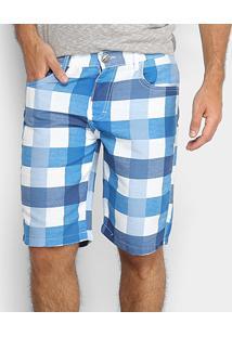 Bermuda Zamany Estampada Sarja Bolso Faca Masculina - Masculino-Azul