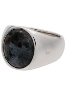 Tom Wood Sterling Silver And Opal Oval Larvikite Ring - Prateado