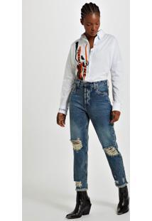 Calça Reta High Rock Jeans Medio - 36