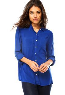 Camisa Manga Longa Cativa Fashion Azul