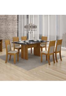 Conjunto De Mesa De Jantar Florença Com 6 Cadeiras Havai Linho Imbuia Mel Preto