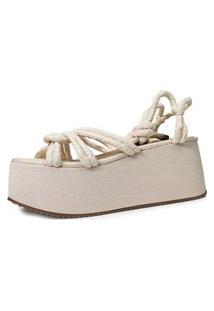 Sandália De Corda Trançada Damannu Shoes Hilary Off White
