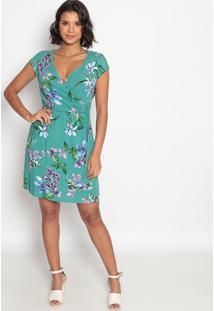 Vestido Com Transpasse & Fivela- Verde & Roxo- Vip Rvip Reserva