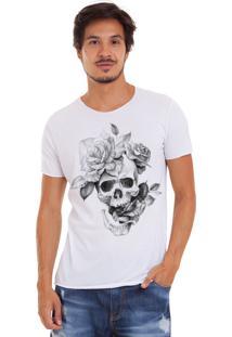 Camiseta Joss Corte A Fio Caveira Flor Branca