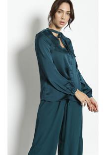 Camisa Texturizada Com Laã§O - Verde Escuroenna