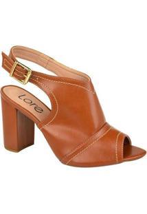 Ankle Boot Couro Lore Costuras Feminina - Feminino-Caramelo