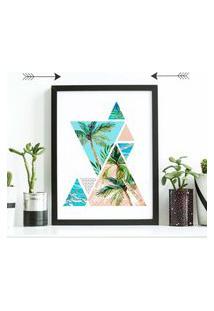 Quadro Decorativo Com Moldura Triangle Palm Tree Preto - 30X40Cm