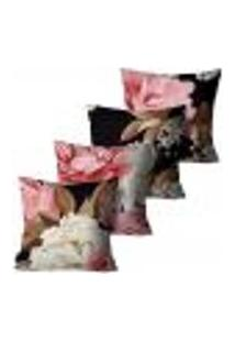 Kit Com 4 Capas Para Almofadas Premium Peluciada Mdecore Floral Preto 45X45Cm