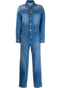 Kenzo Macacão Jeans Com Logo - Azul