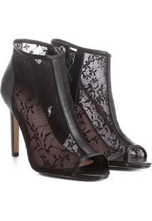 Ankle Boot Shoestock Salto Fino Renda - Feminino-Preto