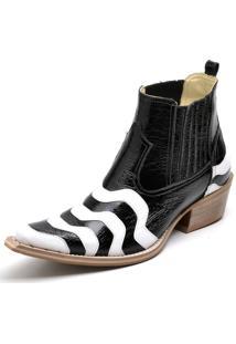 Botina Bota Country Bico Fino Top Franca Shoes Verniz Preto / Branco