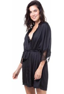 Robe Cetim Homewear Preto - 589.0725 Marcyn Lingerie Pijamas Preto