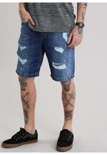 Bermuda Jeans Reta Destroyed Azul Médio