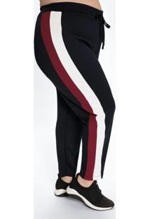Calça Plus Size Preta Com Faixas Laterais