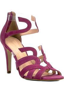 Sandália Couro Shoestock Salto Fino Ondas Vinil Feminina - Feminino-Pink