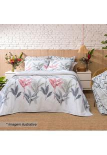 Jogo De Cama Home Design Solteiro- Branco & Cinza- 3Santista