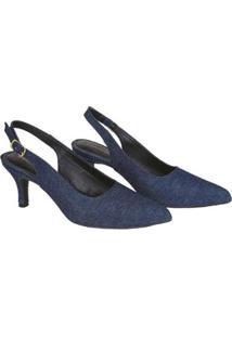 Scarpin Caminar Shoes Aberto Fivela Feminino - Feminino-Marinho