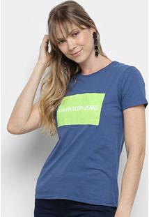 Camiseta Calvin Klein Manga Curta Feminina - Feminino-Azul Escuro