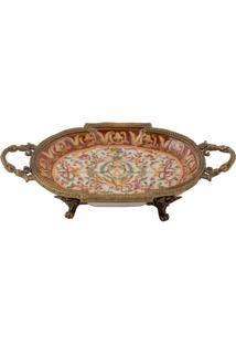 Bandeja Decorativa De Porcelana E Bronze Redonda - Linha Oriental