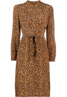 A.P.C. Vestido Evasê Com Estampa De Leopardo - Marrom