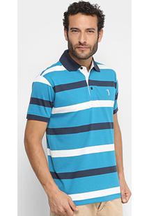 Camisa Polo Aleatory Fio Tinto Listras Masculina - Masculino-Azul+Branco