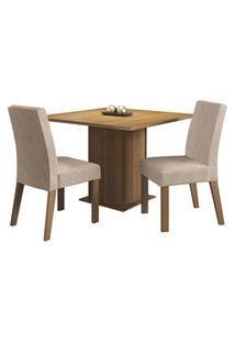 Conjunto Sala De Jantar Madesa Tai Mesa Tampo De Madeira Com 2 Cadeiras Rustic/Imperial Cor:Rustic/Imperial