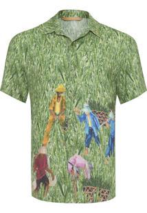 Camisa Masculina Campos De Arroz - Verde