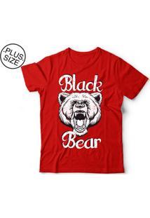 Camiseta Manga Curta Black Bear Plus Size Urso Vermelho