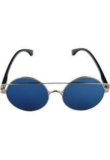 Óculos De Sol Khatto 61 Feminino - Feminino-Dourado+Azul